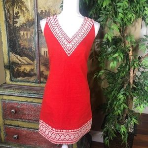 Kate Spade Red Ivory Laureen Shift Dress Size 0